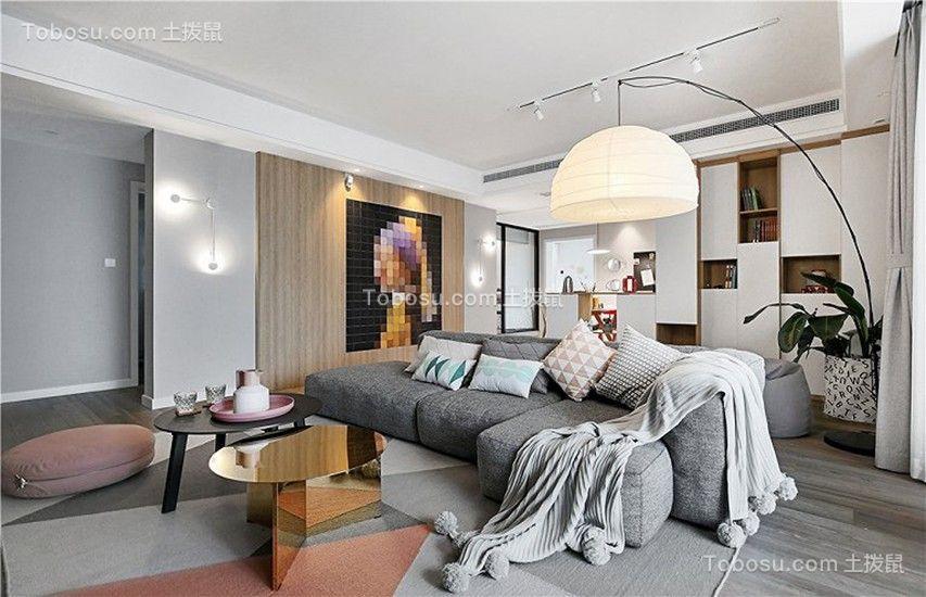 100平米混搭风格二居室效果图