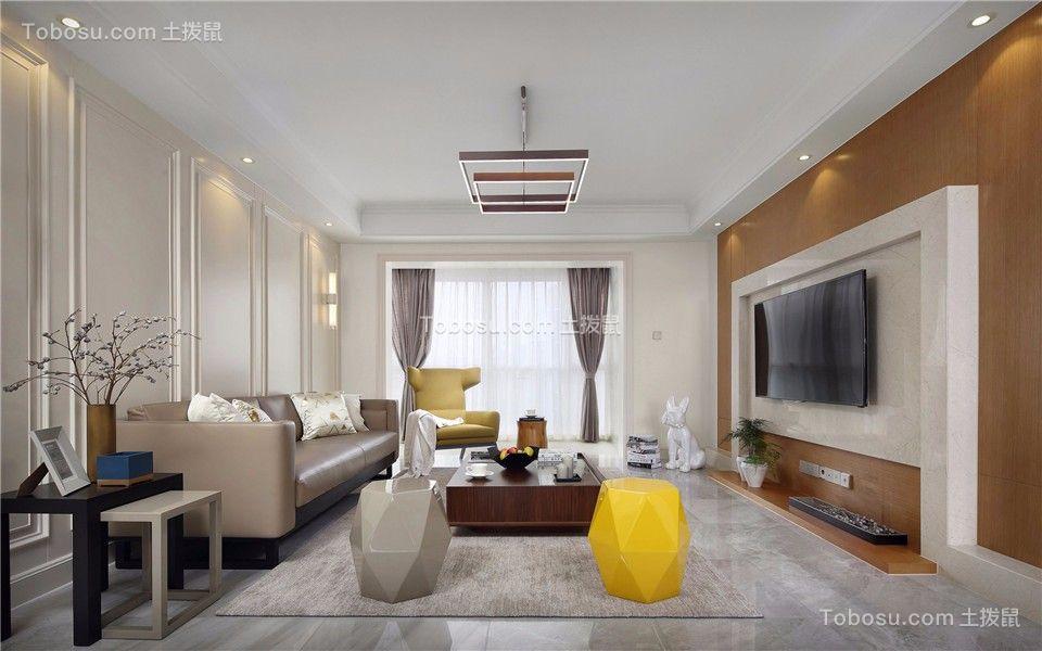 98平现代简约风格三室两厅效果图