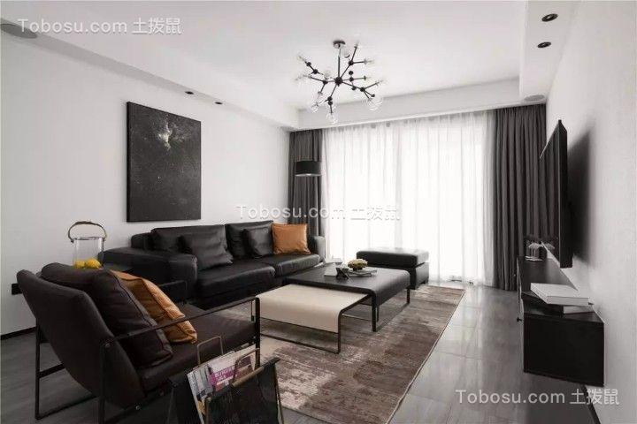 104平简约黑白风格三居客厅装修室效果图