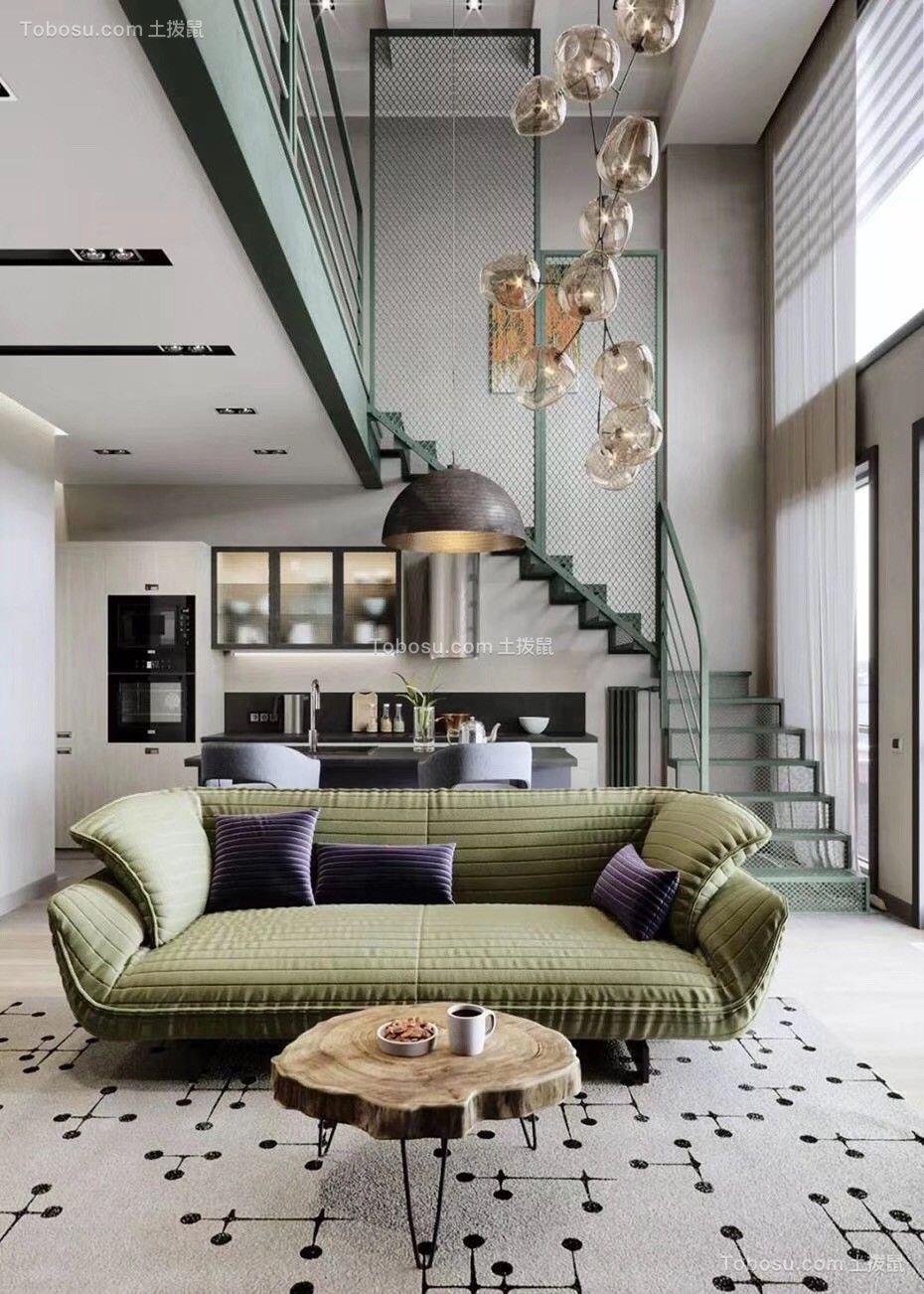 113平现代风格LOFT客厅装修效果图