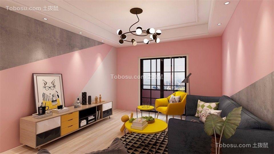 客厅 背景墙_【山水龙城山湖郡】104平米粉色系三居室装修效果图