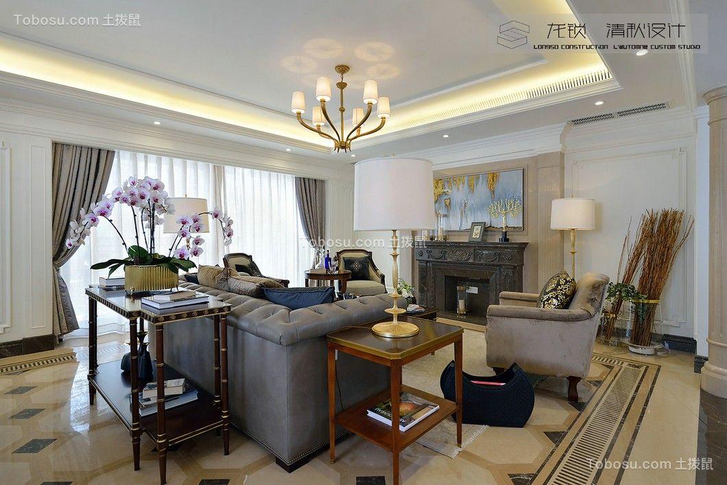 世茂香槟湖200平欧式别墅客厅装修效果图