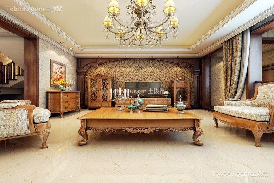 金科阳光美镇156平美式风格别墅客厅装修效果图