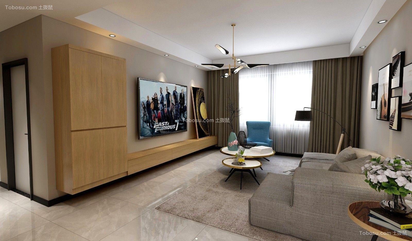 香泊湾130平米轻奢后现代风三居室装修图片