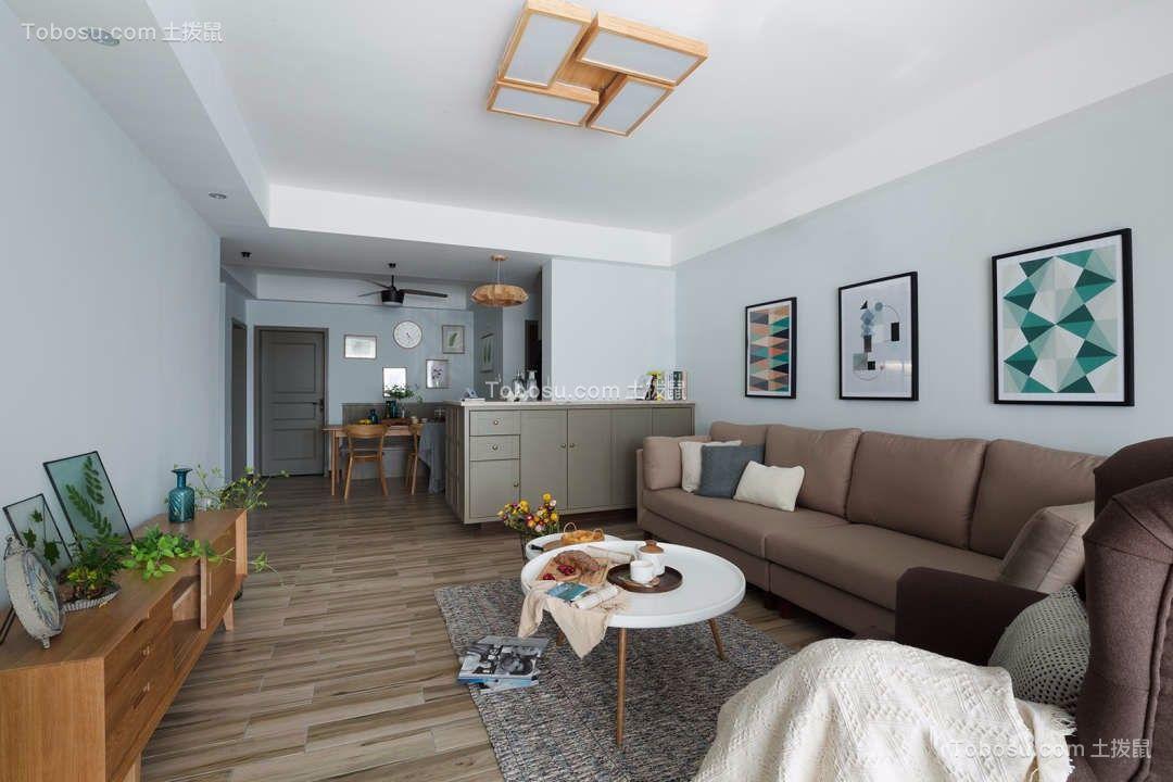 客厅 背景墙_110平米现代简约日光花园三居室效果图