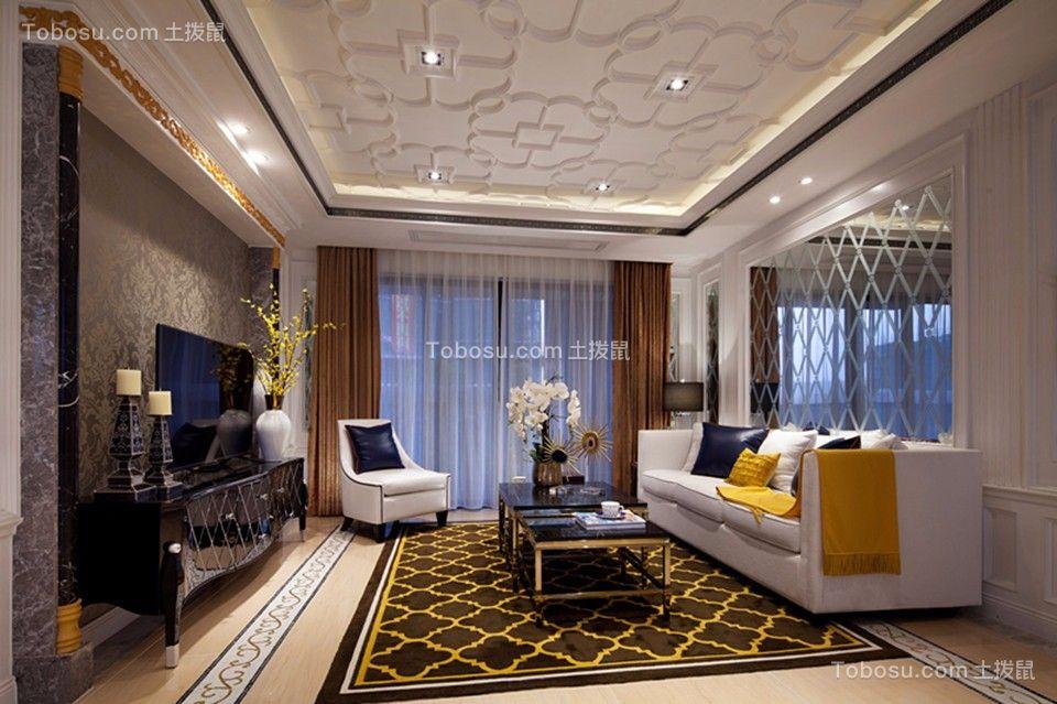 芭莎公馆118平欧式风格三居室客厅效果图