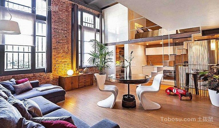 60平美式风格loft客厅装修效果图