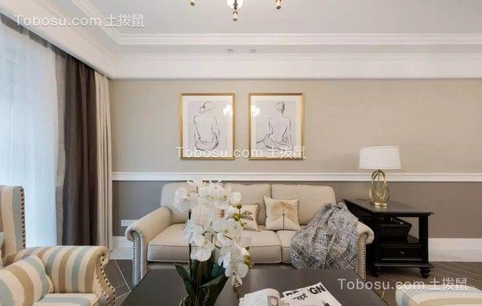 120平优雅美式3室2厅效果图
