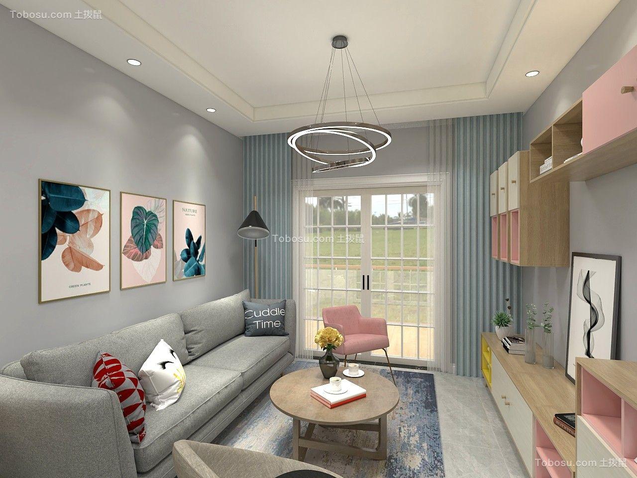 87平米现代简约风格2居室7万效果图