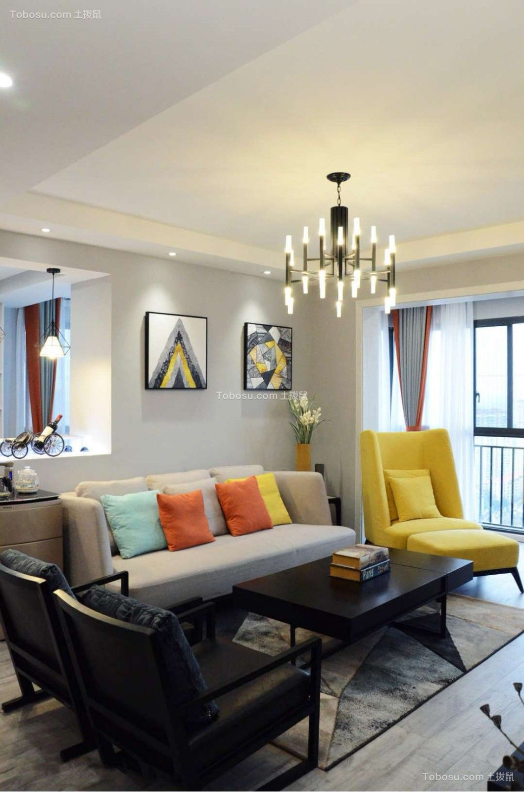 招商翰林大观98平三居室北欧风格效果图