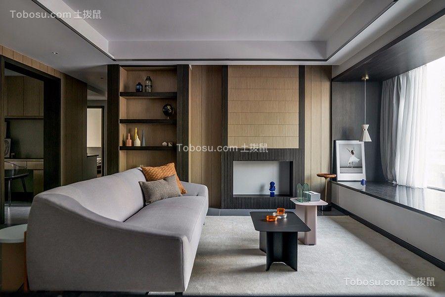 130㎡高级灰现代简约风格二居室装修效果图