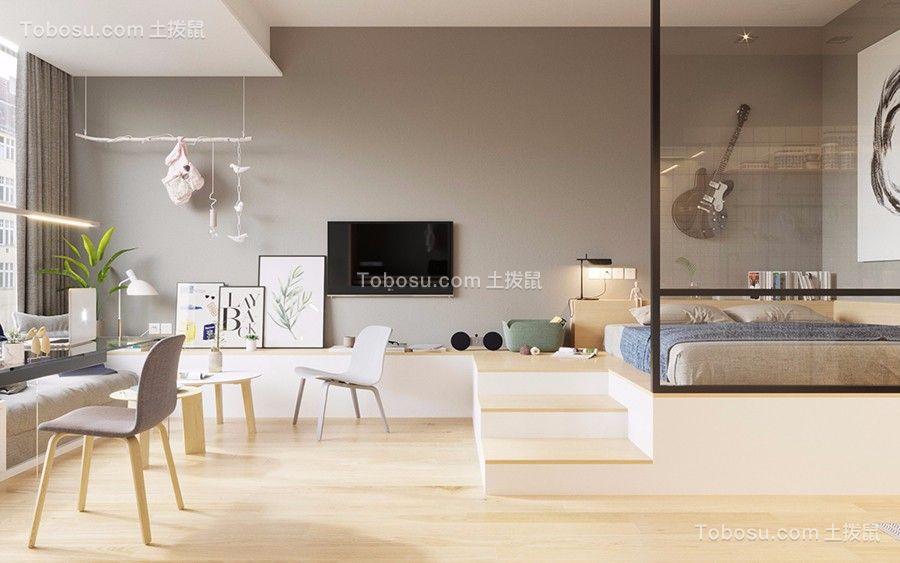 56㎡公寓原木风格小户型装修效果图