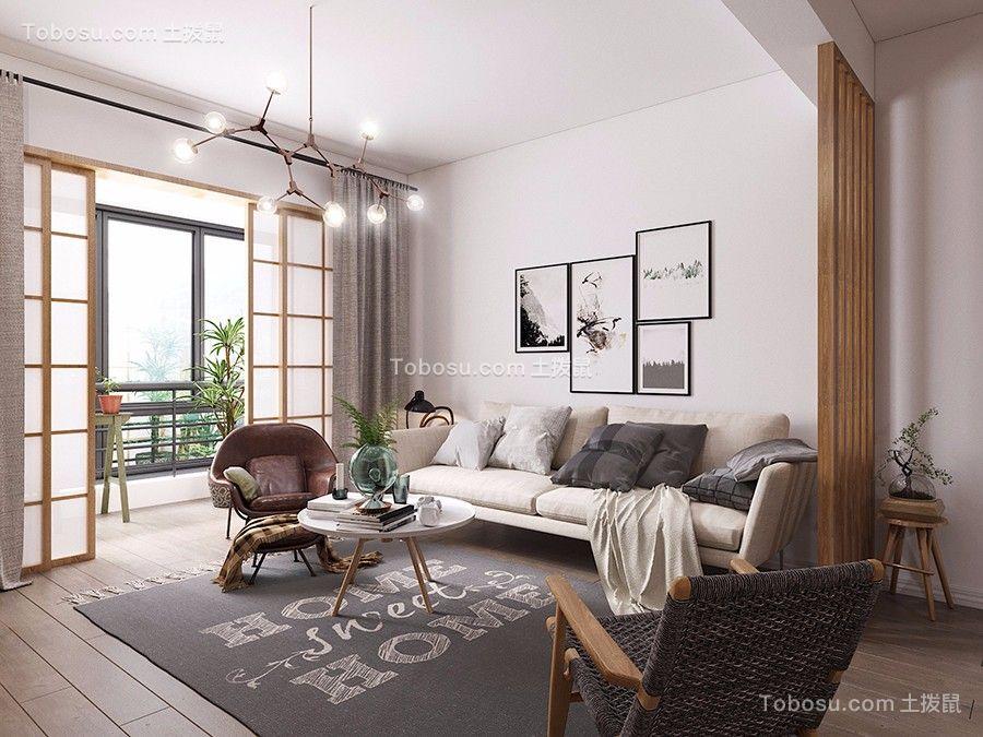 87㎡北欧风格二室客厅装修效果图