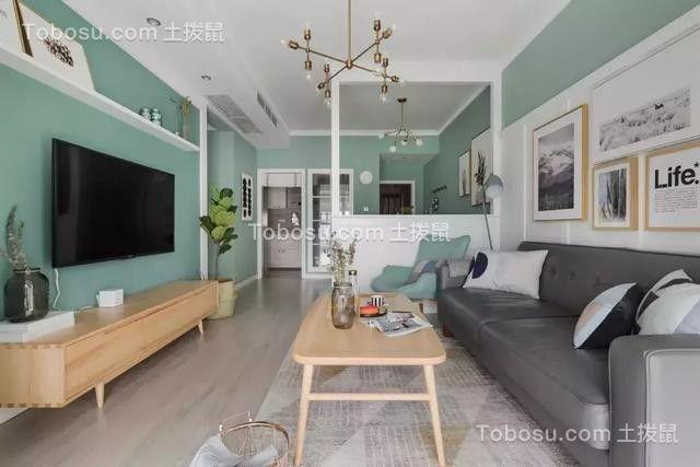 92平米北欧风格薄荷绿二居室图片