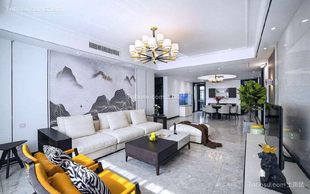 120平米新中式风格二居室装修效果图