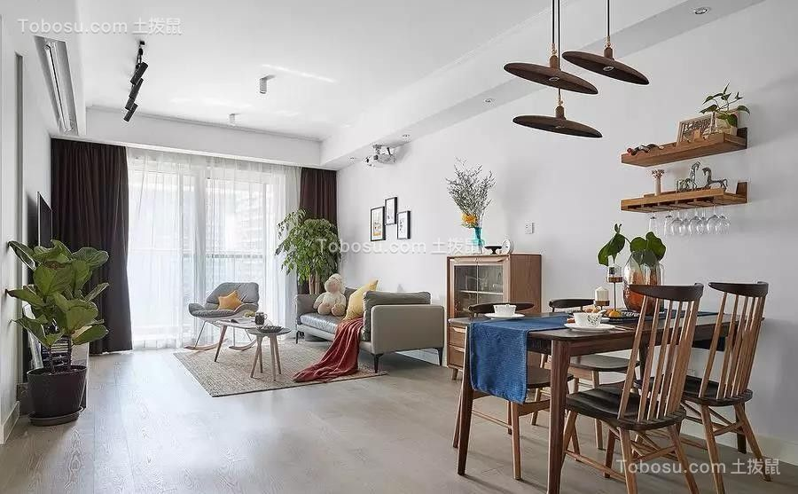 125平米北欧风格原木3室2厅效果图图片