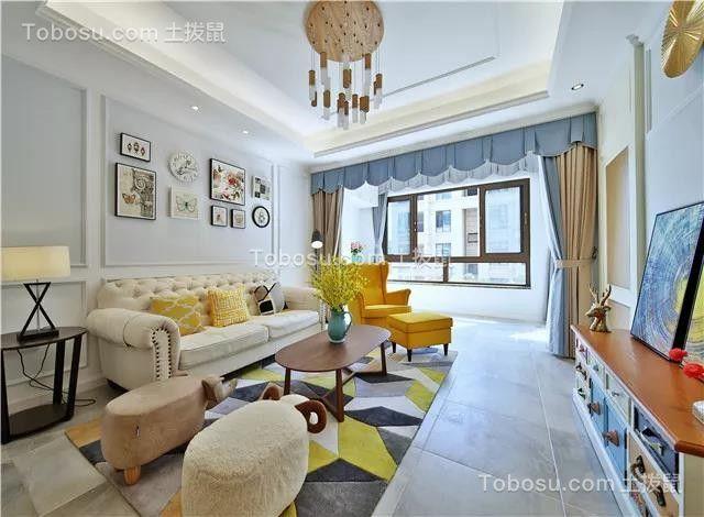 130㎡现代美式风格三居室半包10万图片欣赏