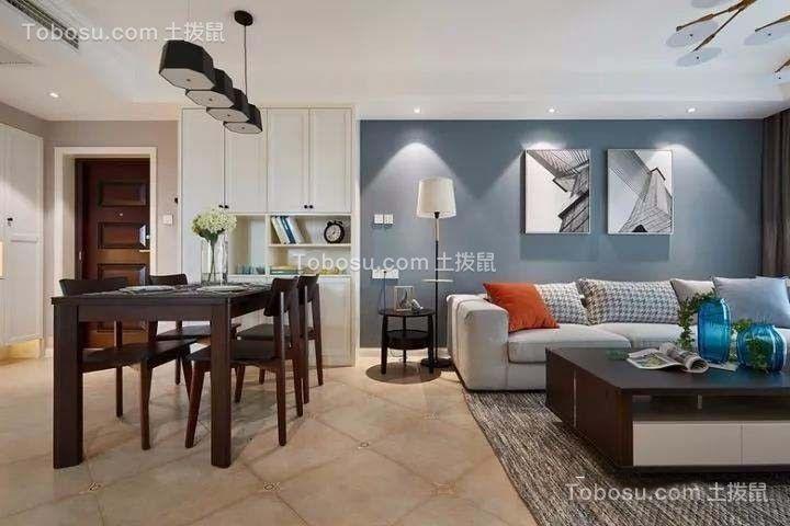 89平现代美式风格三居室装修效果图