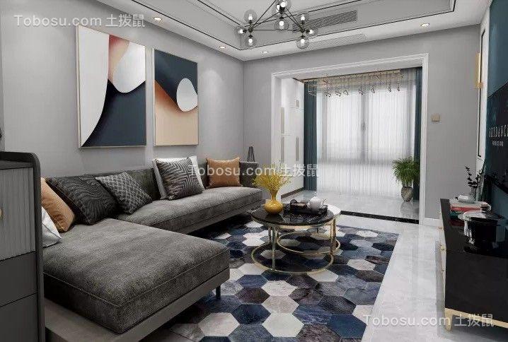 禹州中央城80平两室现代装修效果图