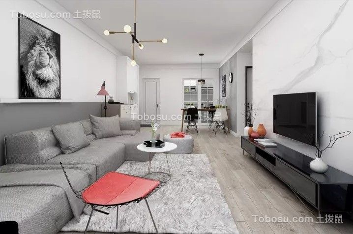 滨湖世纪城88平现代两室装修效果图