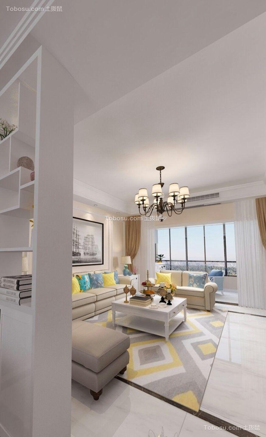 和园三室110平米美式风格客厅效果图