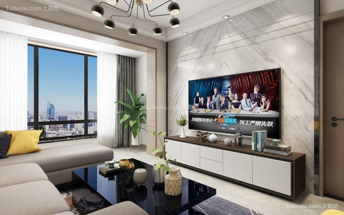 碧桂园100㎡现代简约风格2室2厅1卫效果图