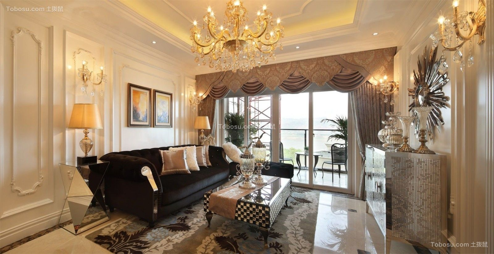 三室两厅120平米法式风格客厅装修效果图