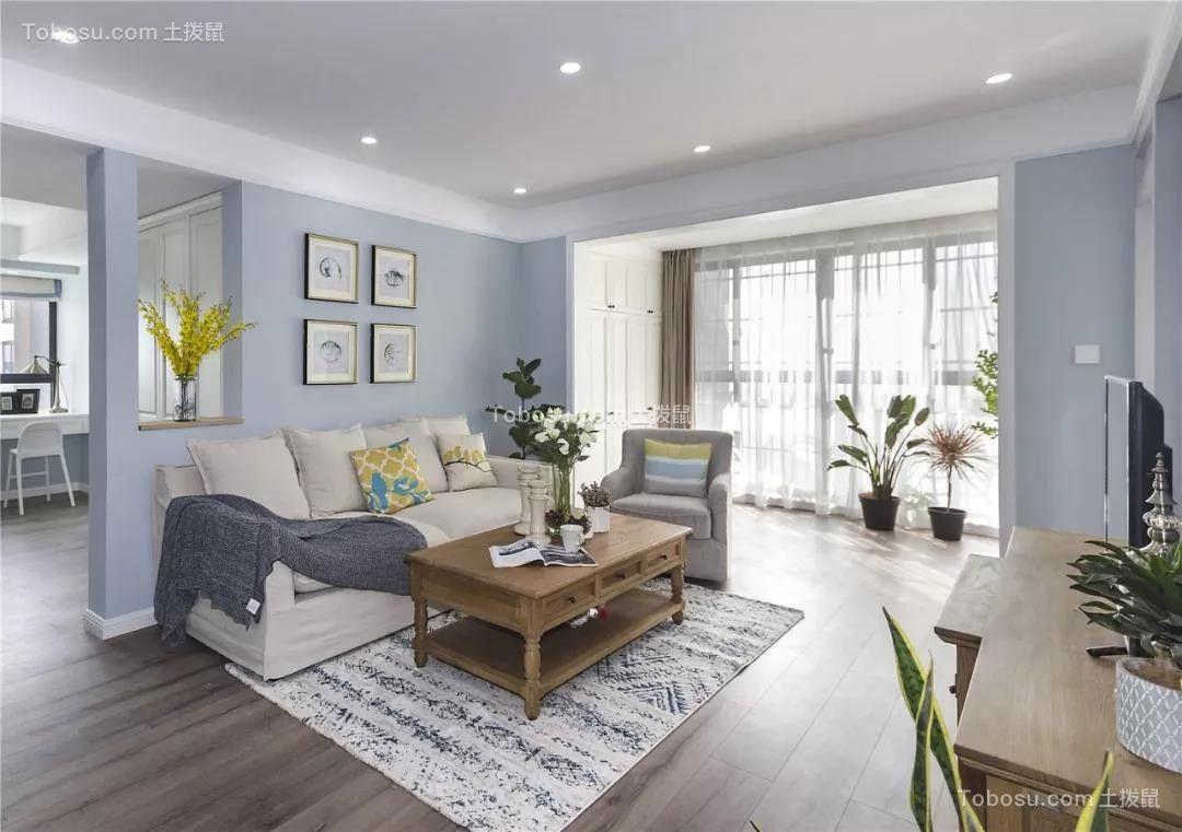 100平美式风格楼房客厅装修案例欣赏