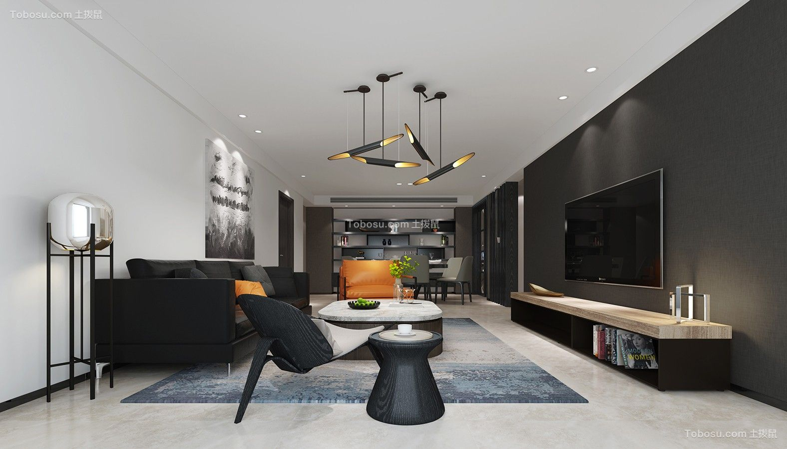 现代简约三居室黑白灰效果图