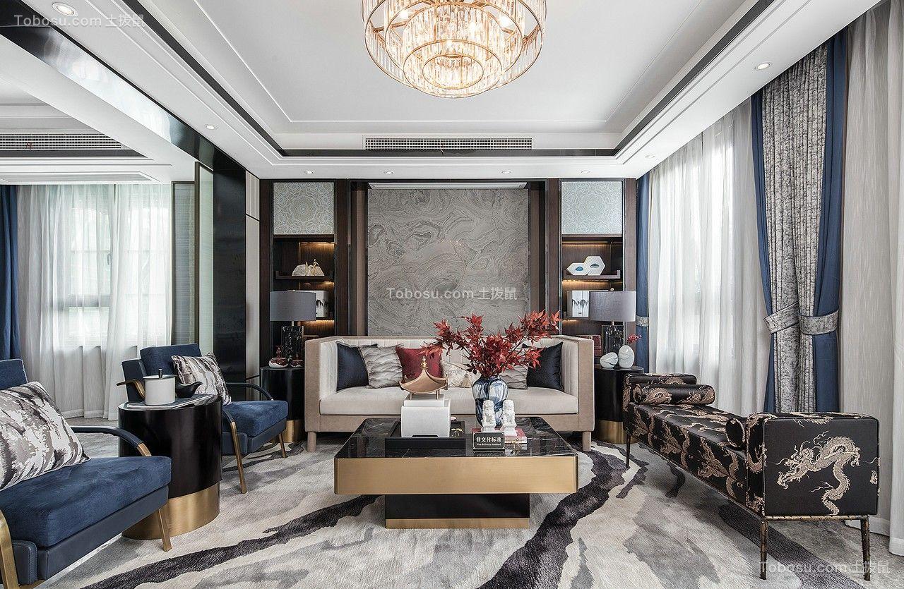 96平方普通住宅现代简约三房客厅装修效果图