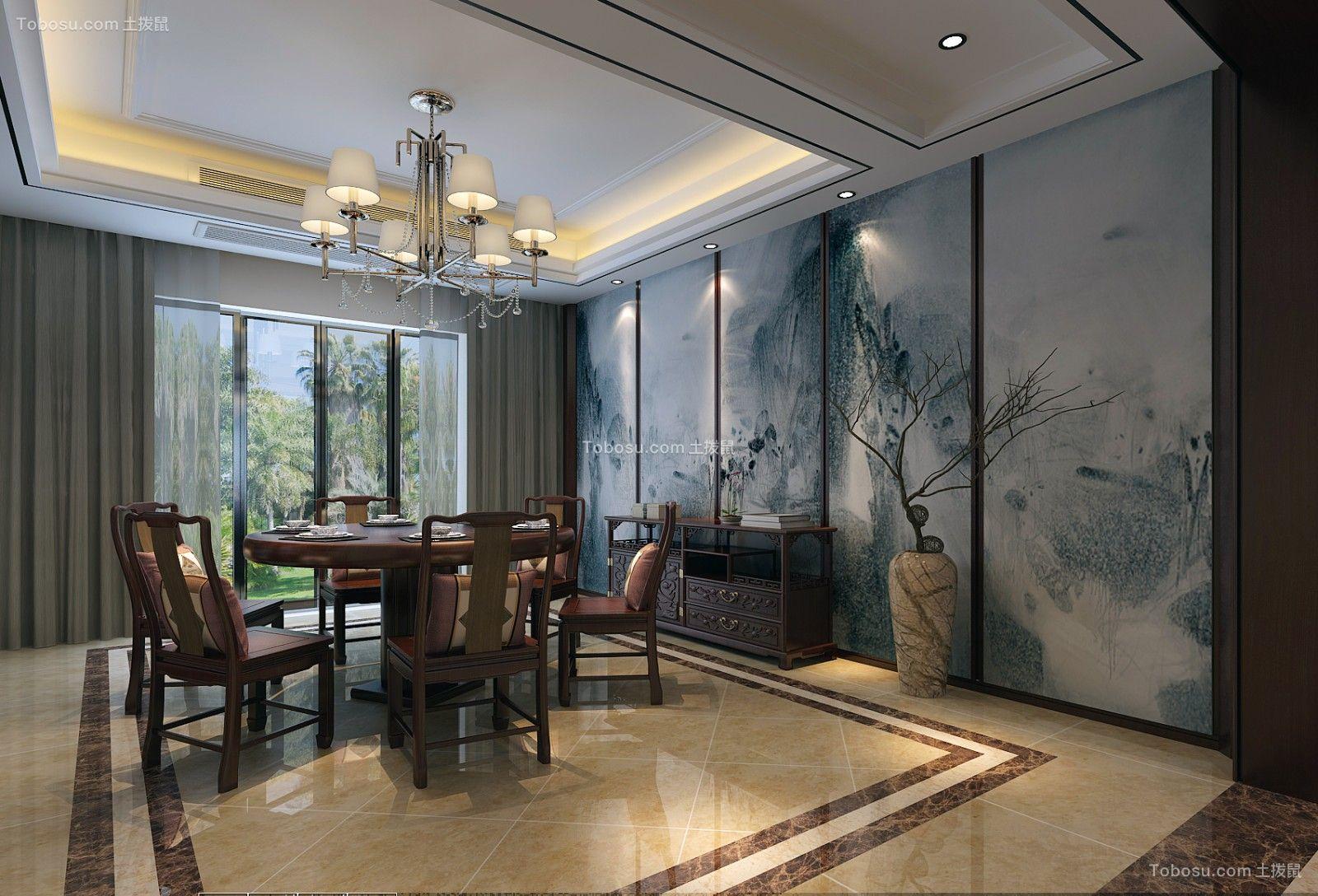 300平别墅新中式风格餐厅装修图片