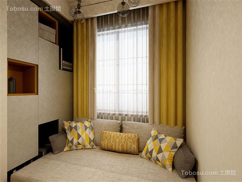 132平经典现代风三居室卧室飘窗装修效果图