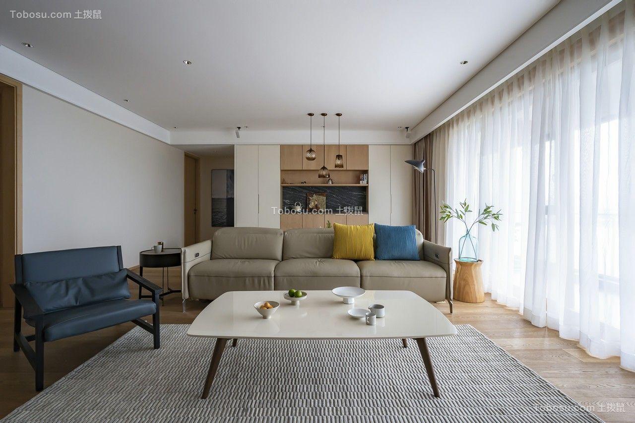 128m²现代简约风格两室两厅客厅案例欣赏