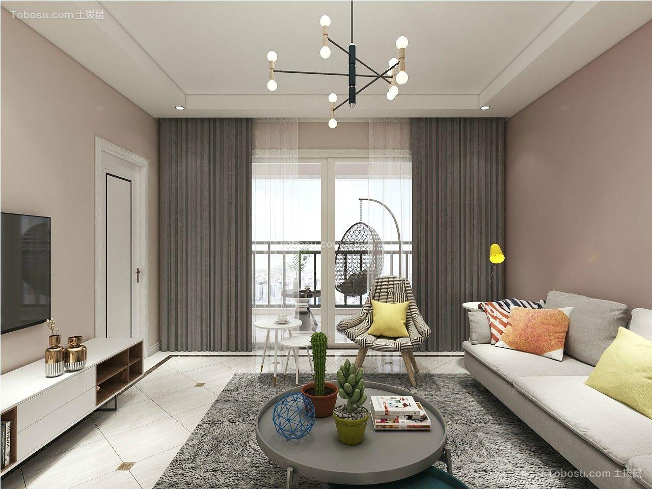 102平米现代风格三居室8万装修效果图