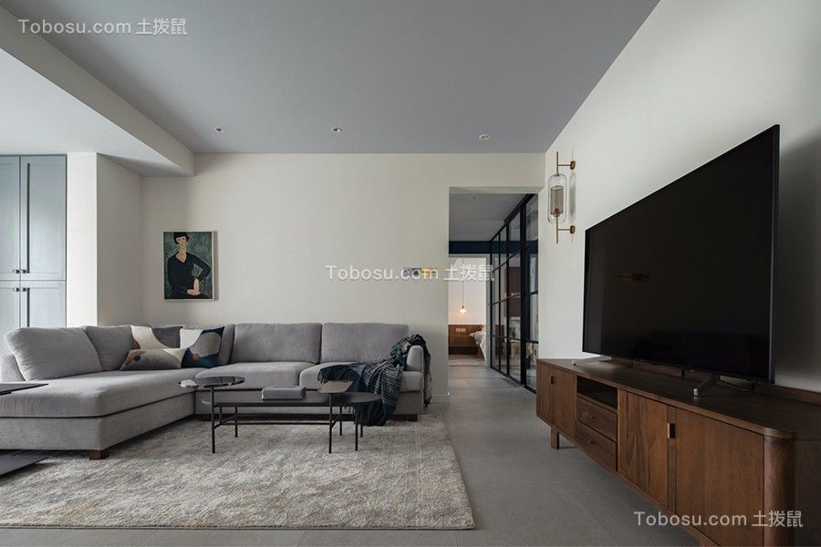 95平米黑白灰风格装修实景图