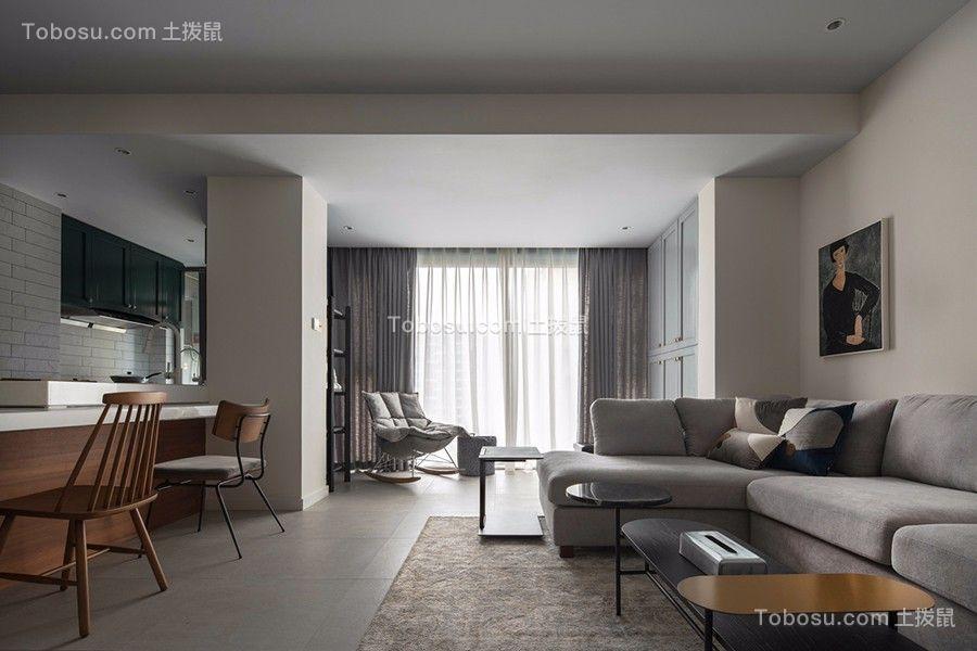 95㎡黑白灰风格二房装修实景图