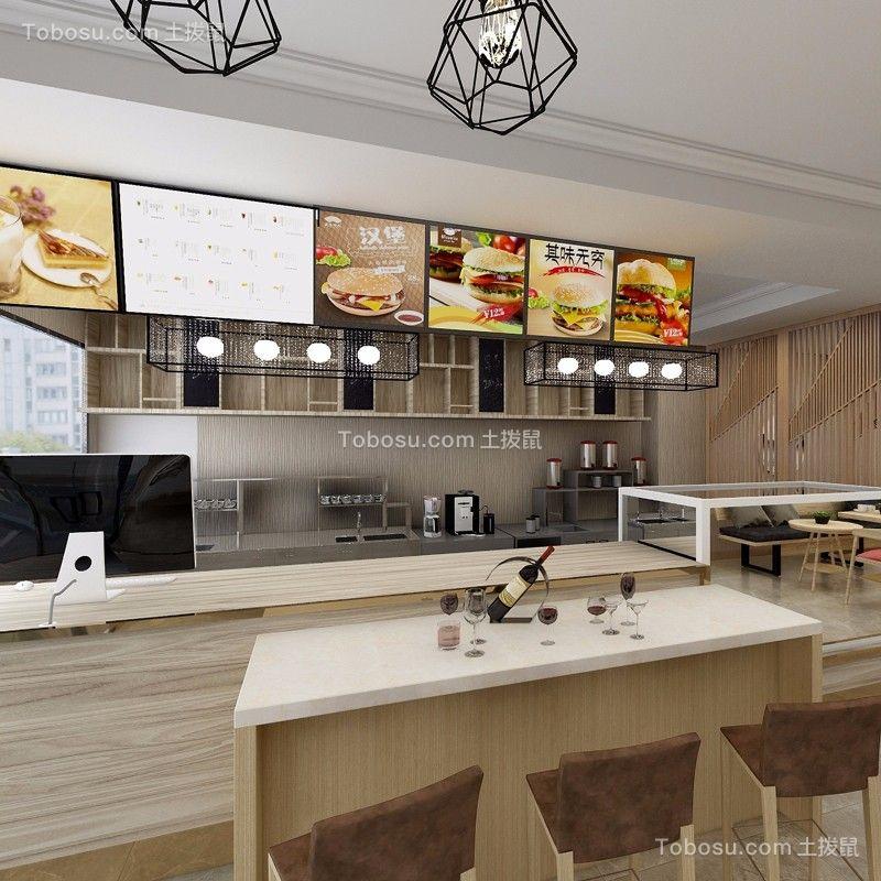 湖滨商业街100平日式风格咖啡店装修效果图