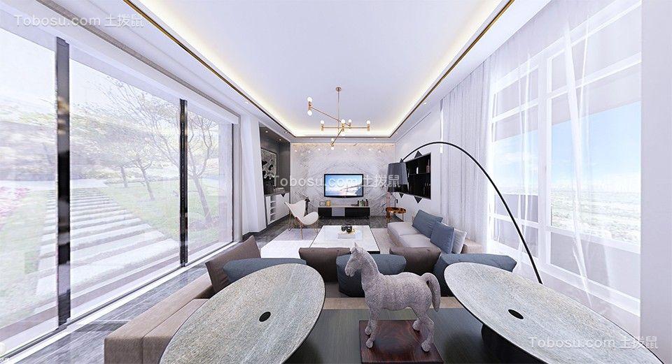 280平米现代简约别墅客厅装修效果图