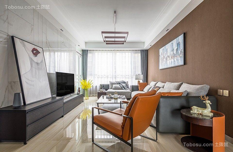 135平米现代简约三居室装修效果图