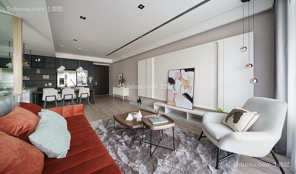 90平米现代简约二居室装客厅修效果图