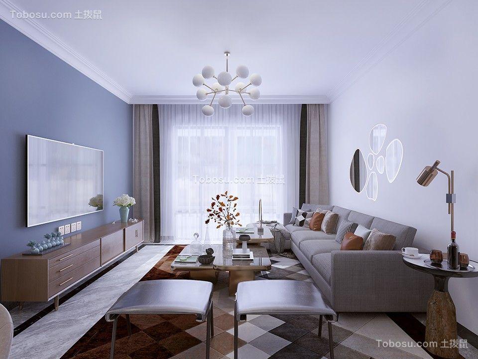 130平米现代简约三居室客厅装修效果图