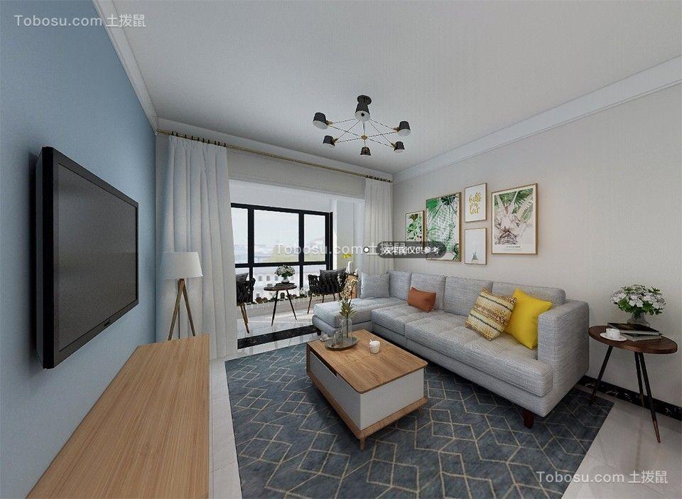80平米现代简约二居室客厅装修效果图