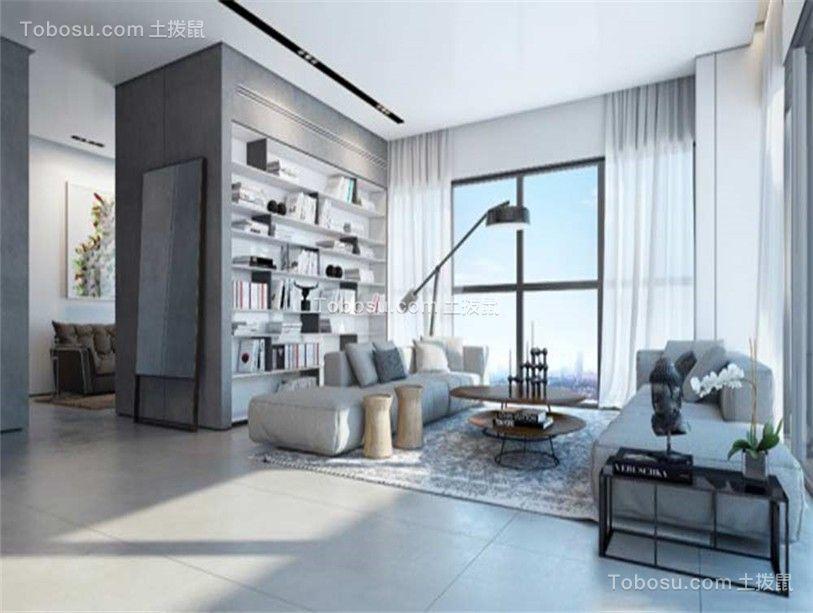 138平简洁现代风三居室效果图