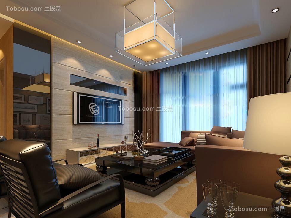 现代简约星泽湾套房126平米暖色调效果图