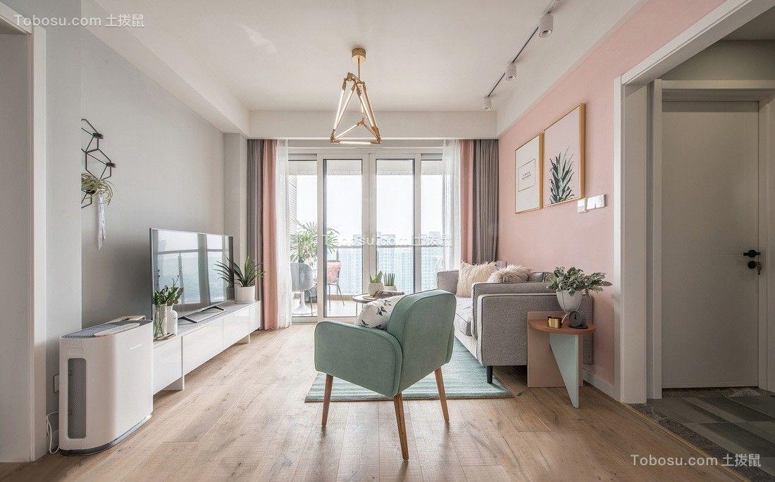北欧风格60平方二房一厅户型效果图
