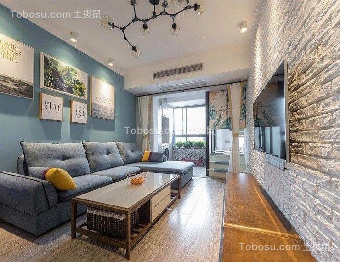 现代简约70平方二房一厅户型效果图