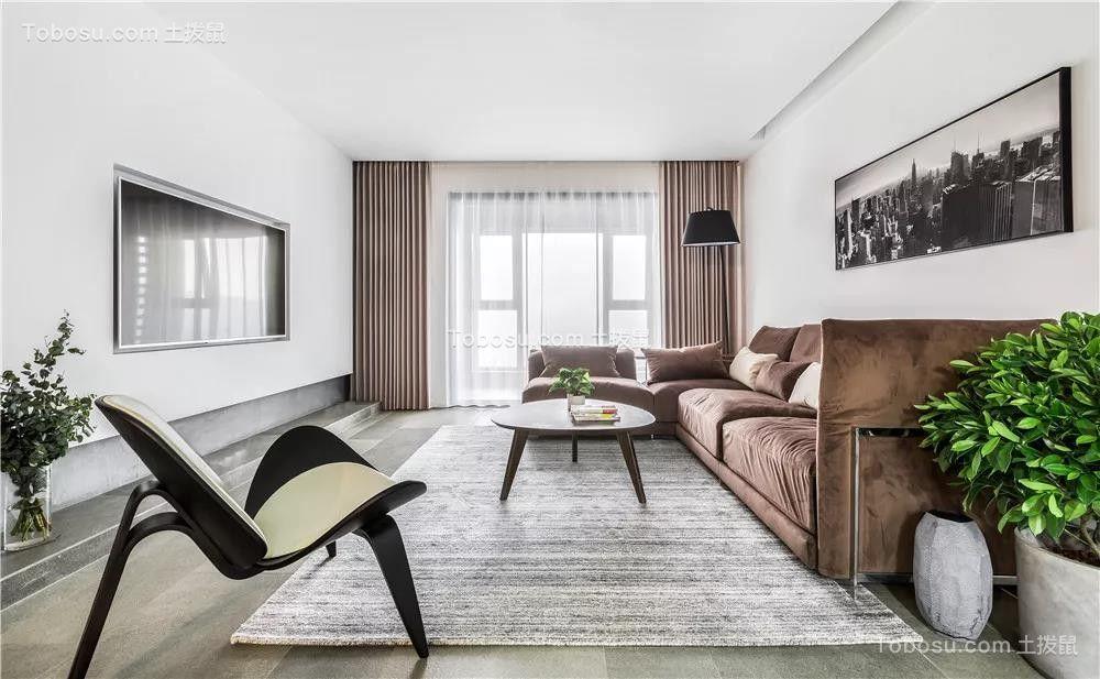 145㎡现代简约水泥灰三居室装修效果图