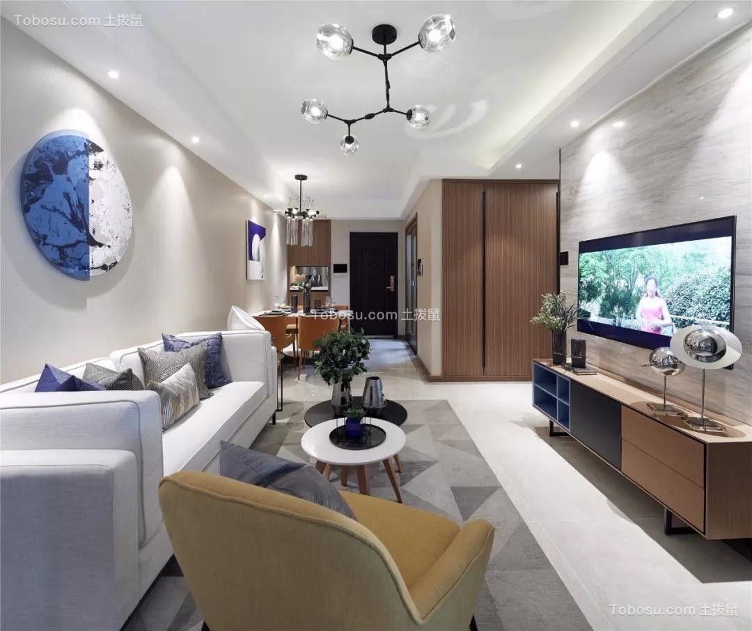 89平现代风小户型三居室客厅效果图