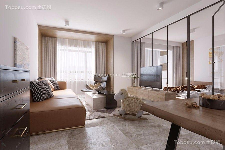 75平米现代原木风二居室装修效果图