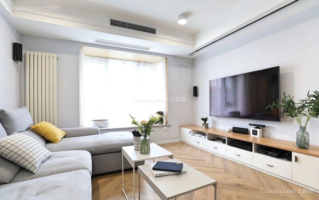 88平米北欧风二居室客厅效果图